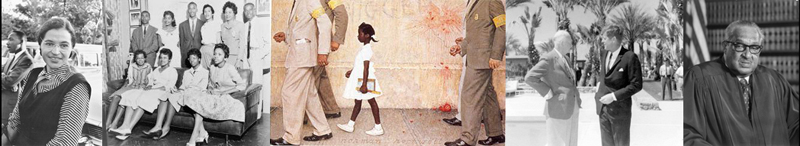 Rosa Parks with Rev. Dr. Martin Luther King - Little Rock Nine - Norman Rockwells depiction of Ruby Bridges - Presidents Eisenhower & Kennedy - Justice Thurgood Marshall